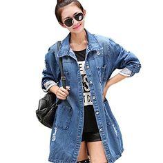 David Salc Women's Casual High Street Denim Jacket Long Loose Holes Outwear M-5XL as picture4X Big