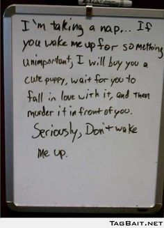 One Very Mean, But Effective Note.... How I feel after working night shift and ppl wake me up