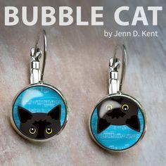 Cute whimsical mixed pair dangle leverback earrings. Popular Peeking Black Cats illustration by Jenn Kent at www.bubble-cat.com Bubble Cat, Black Cat Illustration, Organza Gift Bags, Black Cats, Pet Portraits, Cute Cats, Whimsical, Bubbles, Fashion Jewelry