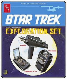This Star Trek Exploration Set 1:3 Scale Model Kit includes the Phaser pistol, all-purpose Tricorder computer, and Communicator. Everything you need to explore strange planets and seek out life.