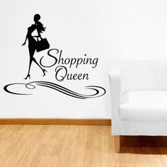 """Style and Apply Shopping Queen Wall Decal Size: 17"""" H x 31"""" W, Color: Royal Blue"""