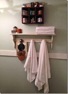 Prim Bath shelf with hanging pegs Decor, Bath Shelf, Old Wood, A Shelf, Shelves, Towel Rack, Old And New, Rustic Shelves, Primitive