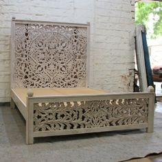 Visit our web-site for far more involving this wonderful bedroom furniture mid century Wooden Wall Panels, Wooden Bed Frames, Bedroom Furniture, Furniture Design, Bedroom Decor, Carved Beds, Hand Carved, Boho Bed Frame, Grey Bed Frame