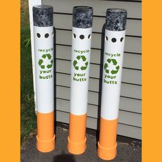 Nice Created Cigarette Disposal Bins Out Of PVC Piping, A Shower Drain (for The  Top
