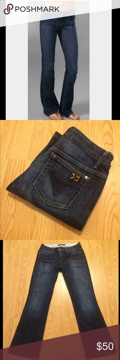 """JOE'S JEANS: Muse fit jeans - size 27 Joe's jeans muse fit mid-rise boot cut jeans with a 30.5"""" inseam, 9"""" rise and 18"""" leg opening.. They measure 14.5"""" across the top of the waist when laying flat.. 98% cotton and 2% elastan.. These r in EXCELLENT condition!! Joe's Jeans Jeans Boot Cut"""