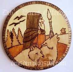 Odin and wolves Wood Plaque Pyrography Pagan by debsburntofferings, $25.00