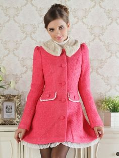 Women's Detachable Fur Turn Down Collar Button Down Lace Bowknot Trench Coat Watermelon Red on DressLuck.com