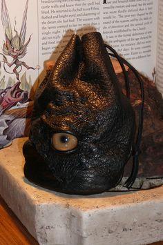 Zombie eye dice bag (Black leather with Tan eye)