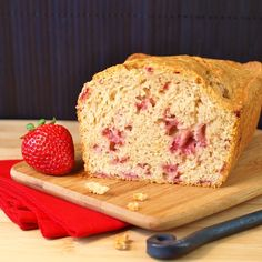 Stawberry bread - I baked for 50 minutes and added dried blueberries. YUM.