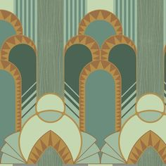 art deco furniture Influenced by the Streamline Moderne genre, Dreamland exudes the daring and bold architectural influence on design. As a statement design with its majestic curves and Aztec styling, this is a true conversation wallpaper. Cores Art Deco, Arte Art Deco, Art Deco Home, Art Deco Wall Art, Art Deco Tiles, Art Deco Print, Wallpaper Art Deco, Pattern Wallpaper, Art Deco Illustration