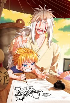 Awww so kawaii Jiraya and naruto Anime Naruto, Film Naruto, Tsunade And Jiraiya, Naruto Fan Art, Naruto Comic, Naruto Sasuke Sakura, Naruto Cute, Naruto Shippuden Sasuke, Anime Chibi