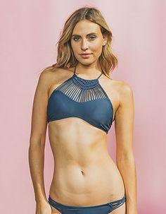 e29644942b DAMSEL High Neck Macrame Bikini Top Blue Women s Swim Tops