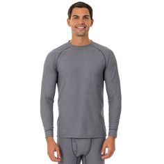 Men's Fruit of the Loom Signature Grid Tech Thermal Base Layer Tee, Size: XL Tall, Grey (Charcoal)