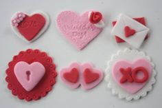 12 Valentine's Day fondant cupcake toppers-hearts, love letter, XO, rose