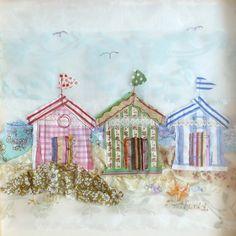 Cabines de plages en appliqué par Abigail Mill