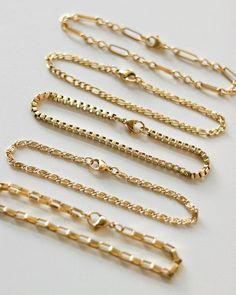 This rectangular link chain is the perfect choice to add an edge to your bracelet stack. Layer on multiple strands with other chain bracelet designs from our collection here. Gold plated stainless steel Length of chain / Cute Jewelry, Jewelry Accessories, Jewelry Design, Jewelry Gifts, Fashion Jewelry, Women Jewelry, Gold Bracelet For Women, Schmuck Design, Minimalist Jewelry