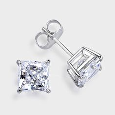 1.0 Ct. Each Princess Cut  14K Stud Earring. High quality cubic zirconia stud earrings featuring 1.0 carat each (6mm) princess cut in a four-prong basket setting. An approximate 2.0 total carat weight. These popular cubic zirconia earrings are available in 14k white gold or 14k yellow gold. Cubic zirconia weights refer to equivalent diamond carat size.