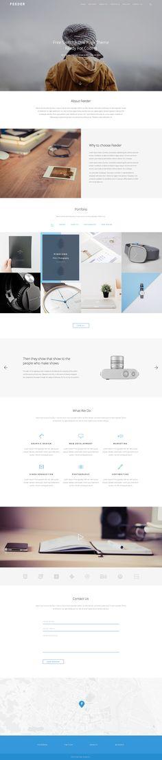 Feeder Website Design - Lovely clean and minimal layout Web Design Mobile, Design Ios, Flat Design, Web Layout, Layout Design, Site Design, Design Responsive, Page Web, Minimal Web Design