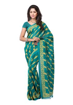 Petra #Fab Turquoise Colored Dani Georgette Printed #Saree Show your passion for fashion this season! Take a pick on this fabulous drape that features most appealing georgette material with striking stripes all over. @aimdeals