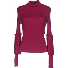 Salvatore Ferragamo Turtleneck (44,175 INR) ❤ liked on Polyvore featuring tops, sweaters, mauve, pleated top, mauve sweater, purple sweater, polo neck top and long sleeve tops