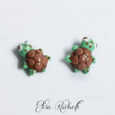 turtle post earrings  polymer clay by ElisaRadaelli on Etsy, €7.00
