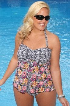 Women's Plus Size Swimwear - Always For Me Chic Prints Lagos 2 Pc Tankini  Style #80858wa