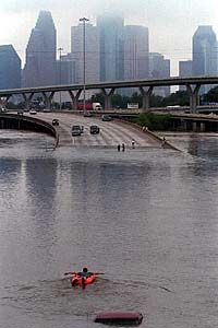 Floods Storms:  Floodwater engulfs a freeway in Houston, Texas, USA.