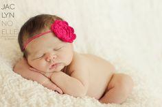 Single Hot Pink Crochet Flower Headband on Matching Skinny Elastic - Great for Newborn Baby Little Girls - Spring or Summer Hair Bow.