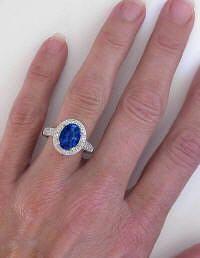 Ceylon Blue Sapphire and Diamond Ring in 14k white gold