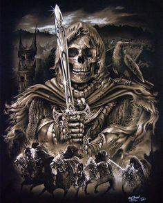 ~ Reaping A Brave New Life ~ Four Horsemen of the apocalypse Dark Fantasy Art, Dark Art, Grim Reaper Art, Horsemen Of The Apocalypse, Skull Pictures, Skull Artwork, Arte Obscura, Skull Wallpaper, Sugar Skull Tattoos