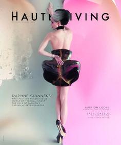 Daphne Guinness on the cover of Miami Haute Living, October/November 2012. Dress: Iris van Herpen.