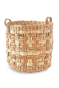 Woven basket:  Handcrafted from water hyacinth, this pretty basket might help with picking up toys, but with its gorgeous, natural tones and leather handles, we think this basket could be used for just about anything.