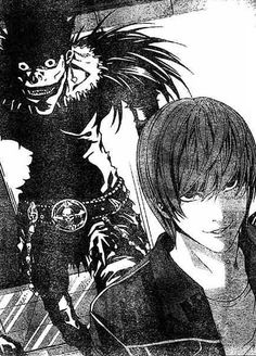 "Ryuuk and Yagami Light. My favourit characters of the epic #manga: Death Note. Light's an intelligent young man, bored with the world until one day he finds a ""Death Note"", belonging to the shinigami, or god of death, Ryuuk. Writing someones name in the book will result in his or her death. Using this power to get rid of the evil of the world he gets involved in the biggest police action of all time, in the detective L's hunt for himself as the killer Kira."