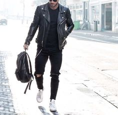 hit the gym after work // gym bag // backpack // leather jacket // urban men // city life // city boys // modern gadgets // mens fashion // mens accessories // mens wear //