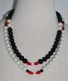 White and Black Glass Bead Necklace