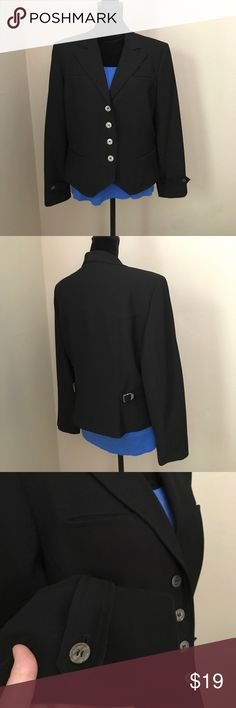 """Sassy Black Blazer Work or play- wear as a blazer with shell or dress, or with shell and jeans for a more casual look. Mid-weight 100% polyester, fully lined,  great details in cuffs and mock pockets. Since the waist for a more fitted look. Pointed detail on front hem slims. Measures 24"""" shoulder to hem and 22.5 across bust. Periwinkle too pictured listed separately. Smoke free home. Signature by Larry Levine Jackets & Coats Blazers"""