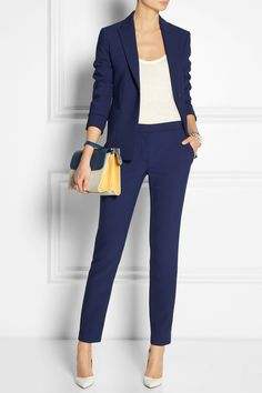 The Row | Leena ponte blazer | The Row | Roger jersey tank | The Row | Fordan stretch-ponte slim-leg pants | Gianvito Rossi | Leather pumps | Fendi | Demi-Jour small color-block textured-leather shoulder bag