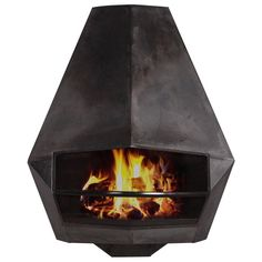 Diamond-Shaped Steel Fire Place  | From a unique collection of antique and modern fireplaces and mantels at https://www.1stdibs.com/furniture/building-garden/fireplaces-mantels/