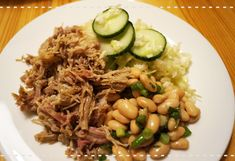 pulled pork with cabbage and bean salad - Low Carb Recipe Low Carb Recipes, Cooking Recipes, Bean Salad Recipes, Pulled Pork, Risotto, Cabbage, Beans, Foods, Ethnic Recipes