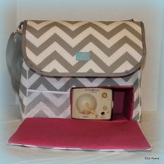 Hey, I found this really awesome Etsy listing at http://www.etsy.com/listing/172859786/gray-chevron-hot-pink-breast-pump-bag