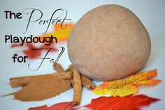 This is my favorite playdough --- it puts me in a good mood, just smelling it!  I love it any time of year, but when fall rolls around, this cinnamon-spice dough is simply perfect!