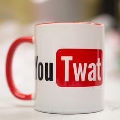 You TWAT mug  Funny rude gift  Mug/Cup coffee/tea 100% ceramic mug,rim and handle is red color 100% Handmade  Shipping: Shipping to Europe country