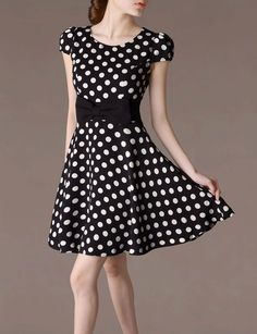 Polka Dots Summer Dress Bow-knot by chieflady