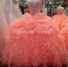 2015 Coral Quinceanera Dresses Ball Gowns Sweetheart Crystals Prom Party Dress Sweet 15 Puffy Quinceanera Dresses Sweet 16