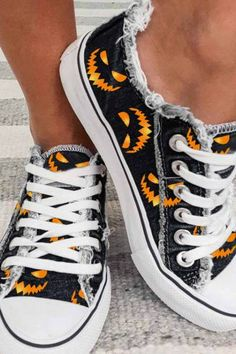 Funny Pumpkin Faces, Canvas Sneakers, Lace Up Heels, High Top Sneakers, Women's Sneakers, Chuck Taylor Sneakers, Casual Shoes, Black, Halloween Face