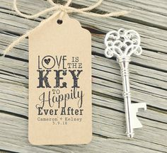 Key Bottle Openers Tag, Key Wedding Favors Tag Rubber Stamp Love is the Key Rustic