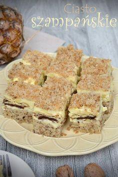 Ciasto szampańskie Polish Desserts, Polish Recipes, Polish Food, Hungarian Cake, Hungarian Recipes, Cupcakes, Sweets Cake, Pumpkin Cheesecake, Mediterranean Recipes
