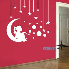 Angel Girl On Moon Stars Bubbles----Removable Graphic Art wall decals stickers home decor. $25.95, via Etsy.