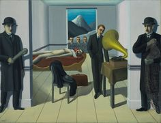 """René Magritte. <i>The Menaced Assassin</i>. Brussels, 1927. Oil on canvas, 59 1/4"""" x 6' 4 7/8"""" (150.4 x 195.2 cm). The Museum of Modern Art. Kay Sage Tanguy Fund. © 2013 Charly Herscovici, Brussels/Artists Rights Society (ARS), New York"""