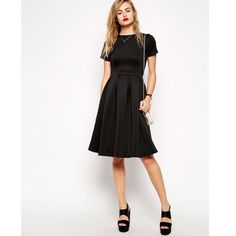 Asos Pleated Scuba Skater Dress In Black